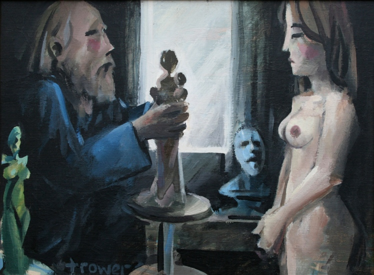 Sculptor and Model in Dark Room by Barry Trower.