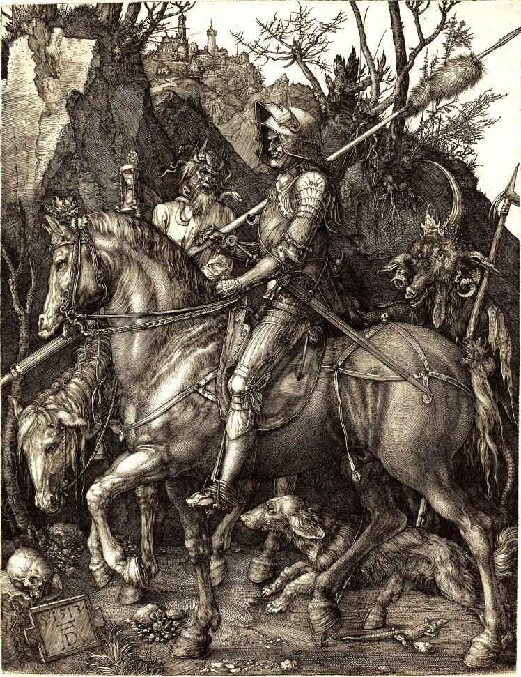 Death, Knight and the Devil by Albrecht Dürer (1513-1514).